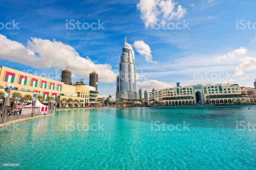 Dubai downtown with shopping mall stock photo
