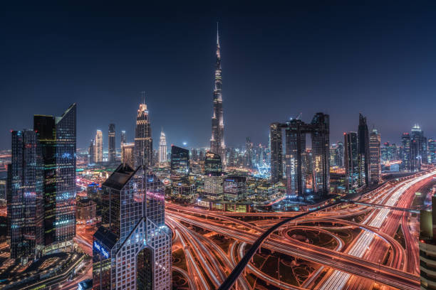 Dubai - Emirati Arabi Multi esposizione manuale (tecnica Bertetto). burj khalifa stock pictures, royalty-free photos & images