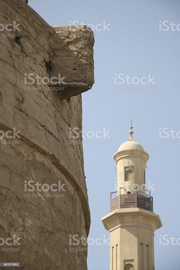 Dubai Fahidi fort and mosque royalty-free stock photo