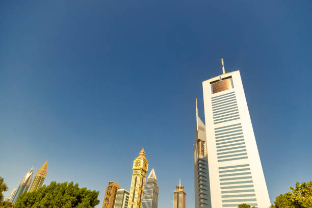 Dubai Financial center district. View of The Jumeirah Emirates Towers in DIFC. Day view with clear sky stock photo