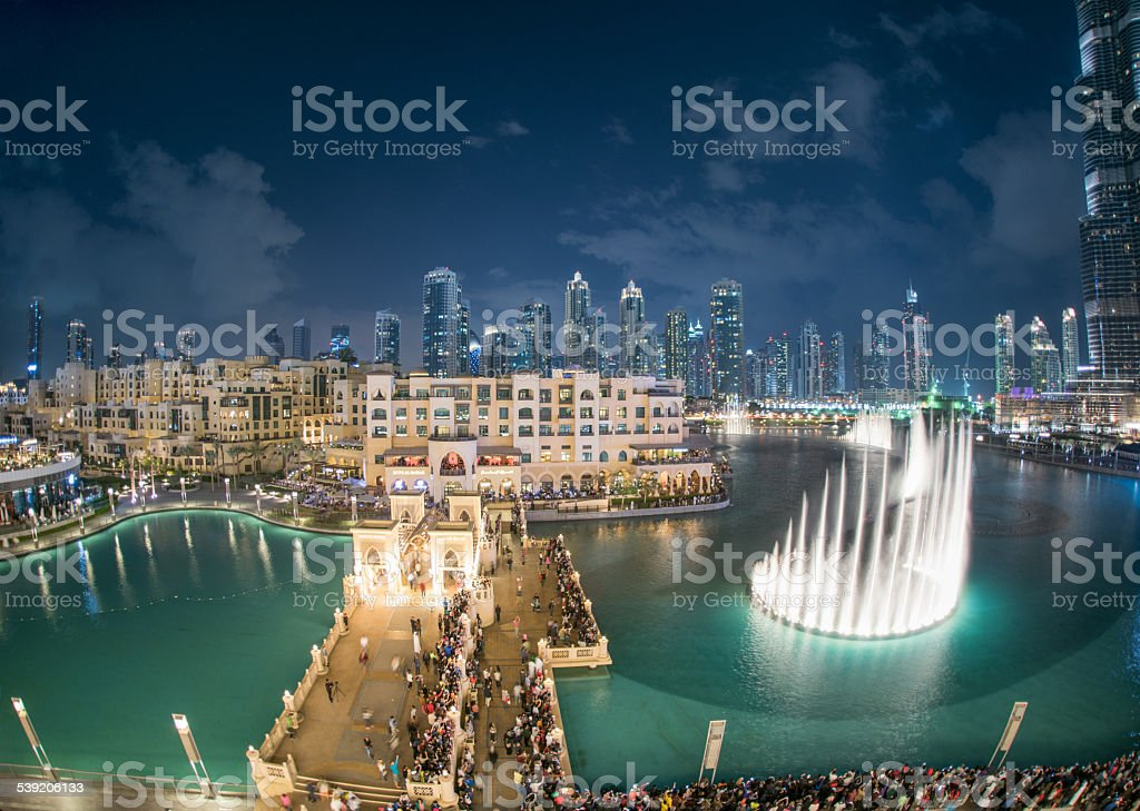 Dubai Fountain show, Burj Khalifa, UAE stock photo