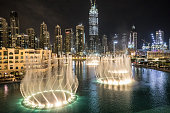 Dancing fountains at the foot of the worlds tallest building in Dubai.