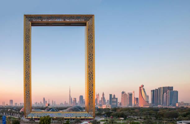Dubai frame building at sunrise Dubai, United Arab Emirates, January 13th, 2018: Dubai Frame building at sunrise dubai stock pictures, royalty-free photos & images