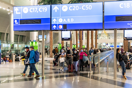 People walking on the Walkway at Duty Free Area at Dubai International Airport