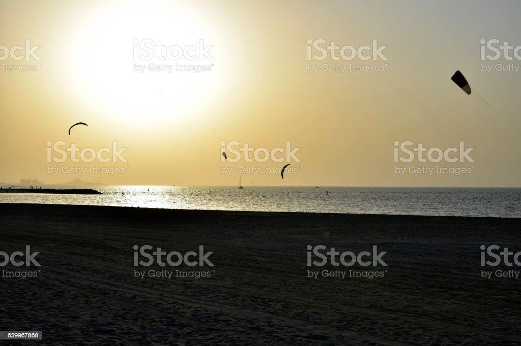 Dubai Kite beach at sunset Jumeirah, Dubai, United Arab Emirates stock photo