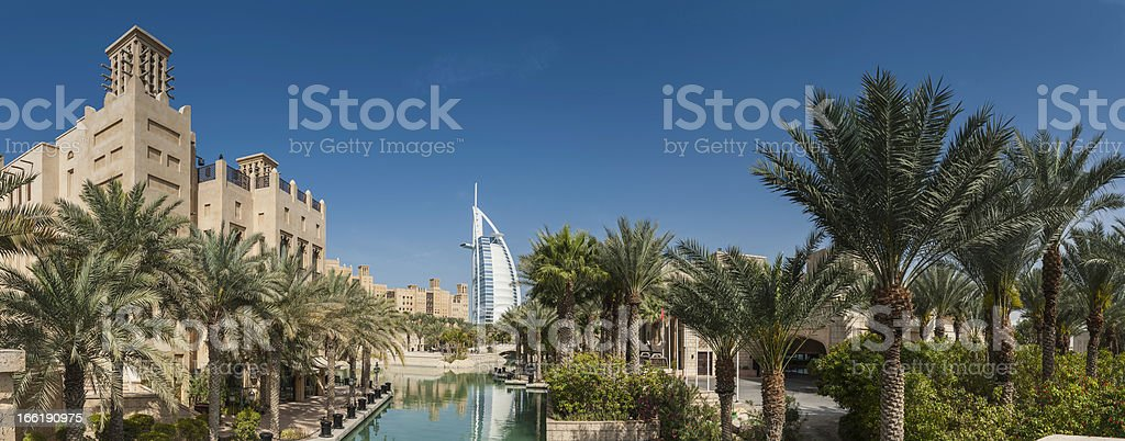 Dubai luxury desert resort Burj al Arab panorama UAE stock photo