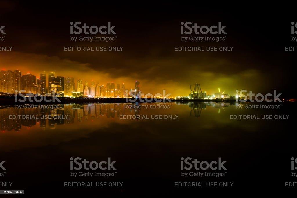 Dubai Yat Limanı - Dubai Palm görünümünden 23-04-17 gece yarısı royalty-free stock photo