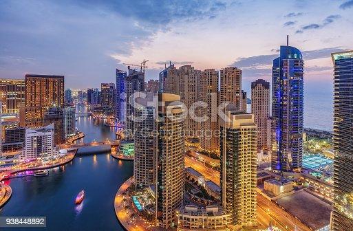 istock Dubai Marina architecture at suset. United Arab Emirates. 938448892