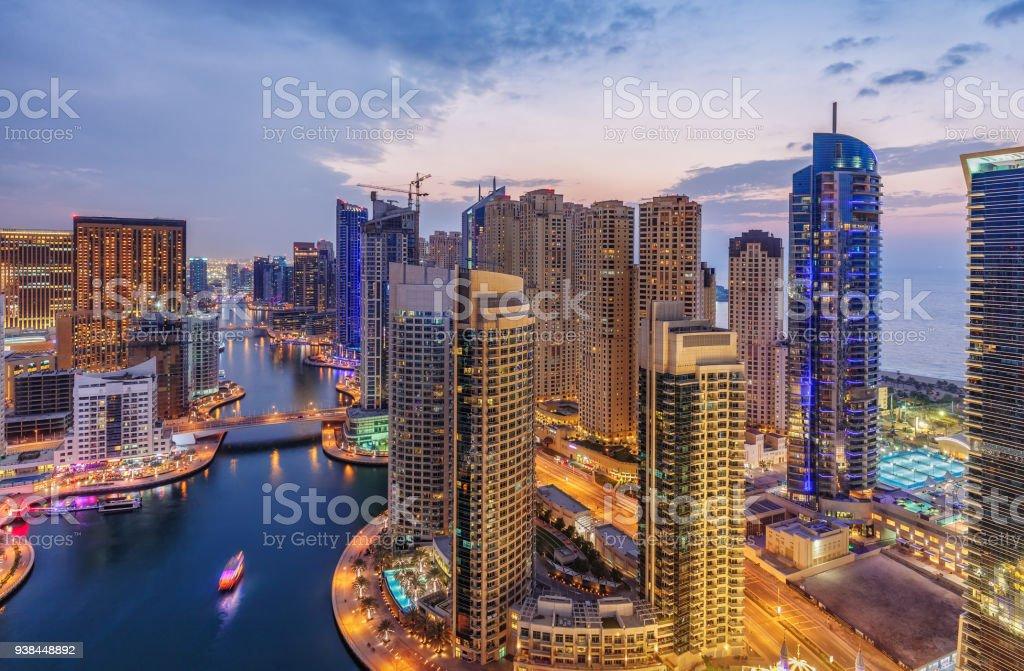 Dubai Marina architecture at suset. United Arab Emirates. stock photo