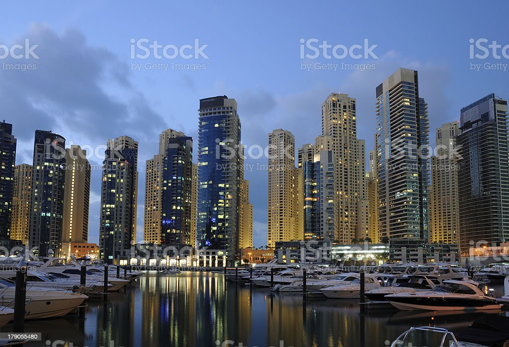 Dubai Marina at dusk royalty-free stock photo