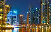 Modern residential towers of Dubai Marina at night, United Arab Emirates