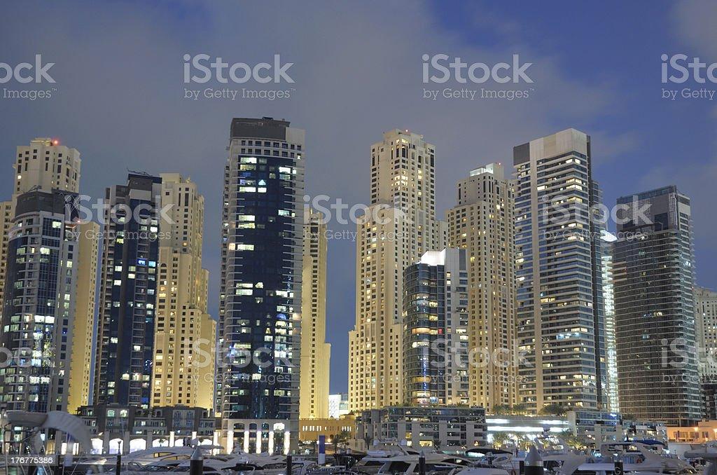 Dubai Marina at night royalty-free stock photo