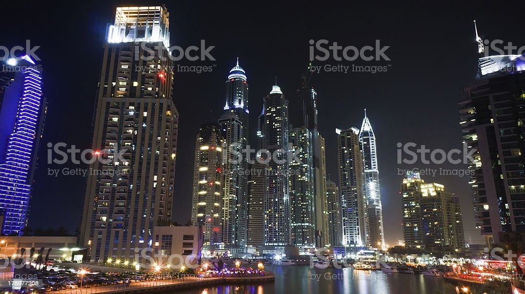 Dubai marina at night royalty-free stock photo