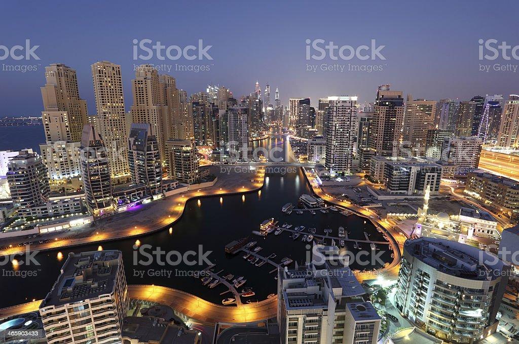 Dubai Marina at night stock photo