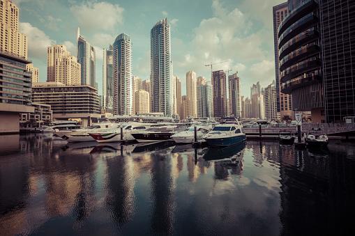 Dubai Marina at sunrise, United
