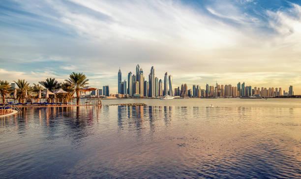 Dubai Marina at sunset United Arab Emirates stock photo