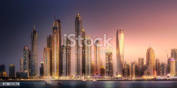 istock Dubai Marina bay view from Palm Jumeirah, UAE 918674176