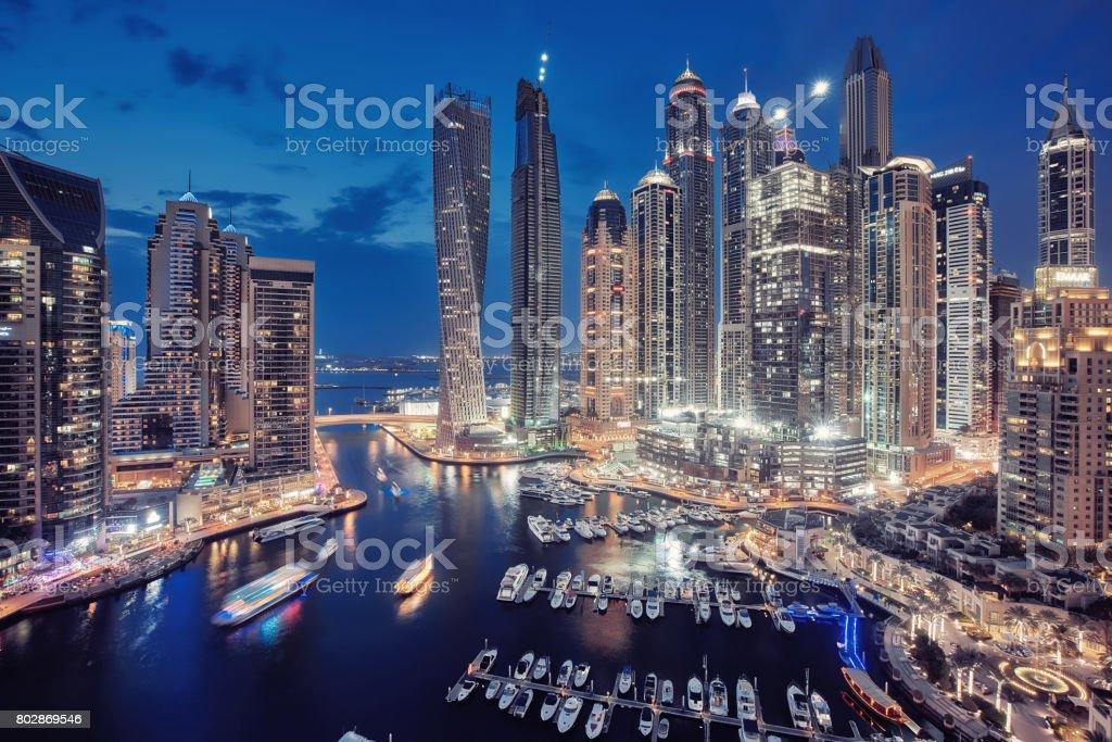 Dubai Marina City Skyline in the United Arab Emirates stock photo