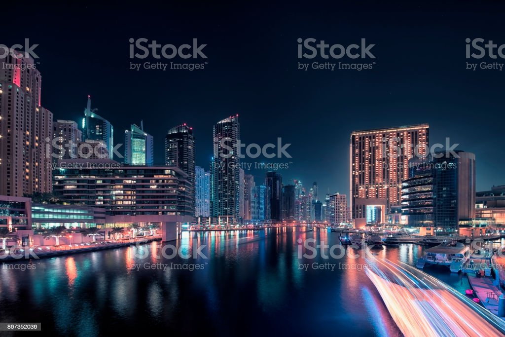 Dubai Marina cityscape stock photo