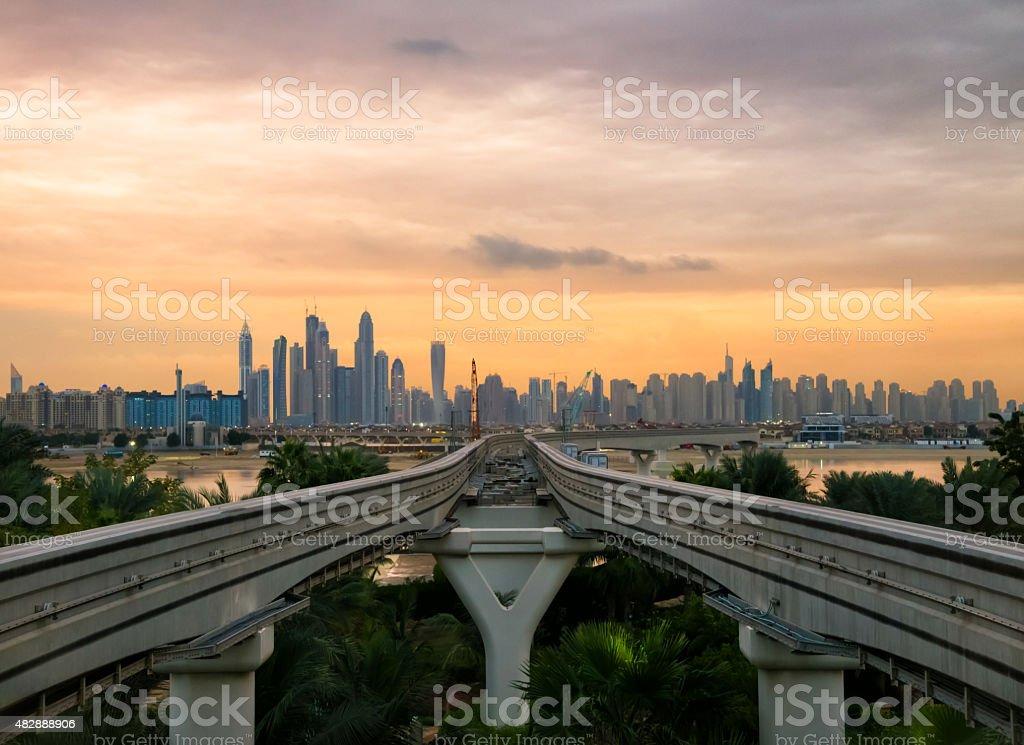 Dubai marina from palm Jumeirah stock photo
