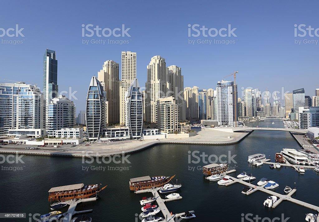 Dubai Marina high angle view stock photo