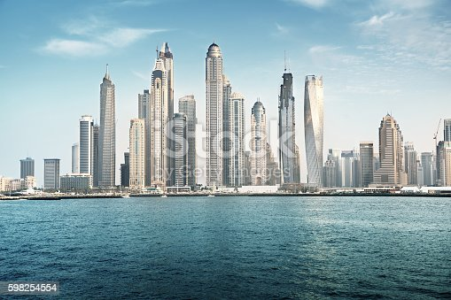 istock Dubai Marina in sunset time, United Arab Emirates 598254554