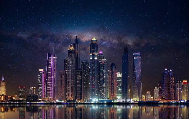 Dubai marina in the evening stock photo