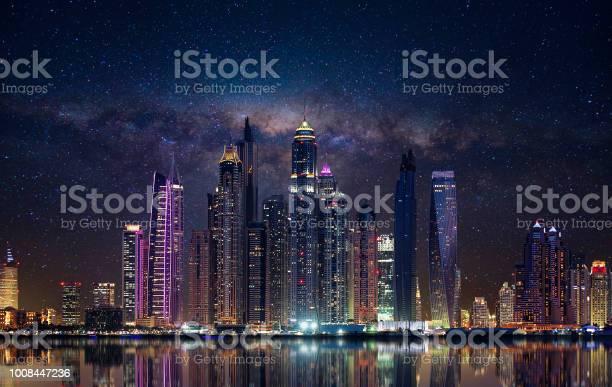 Photo of Dubai marina in the evening