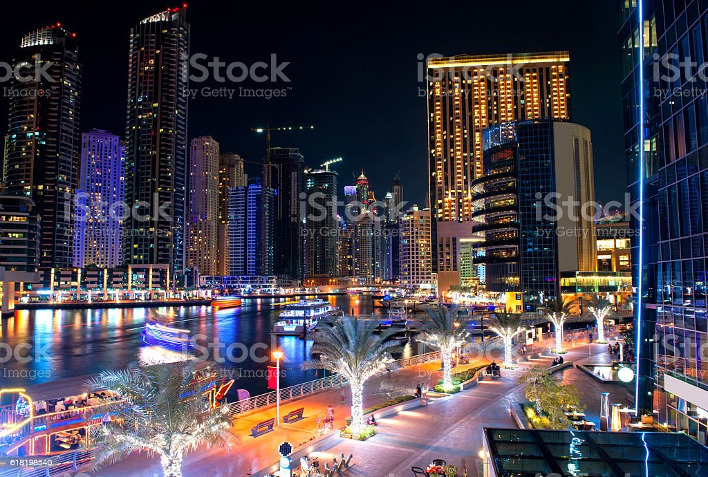 Dubai marina in the night stock photo