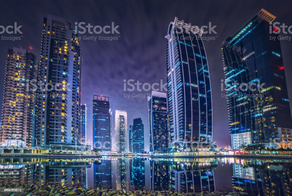 Dubai Marina JLT hotels background stock photo