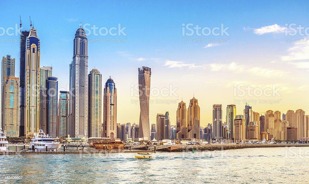 Dubai Marina Life at sunset stock photo