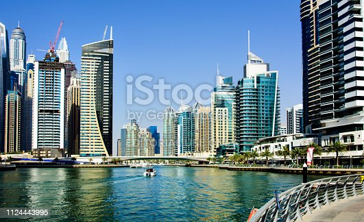 Dubai, United Arab Emirates - March 8, 2018: Dubai marina panoramic view with modern skyscrapers and calm water in Dubai, United Arab Emirates