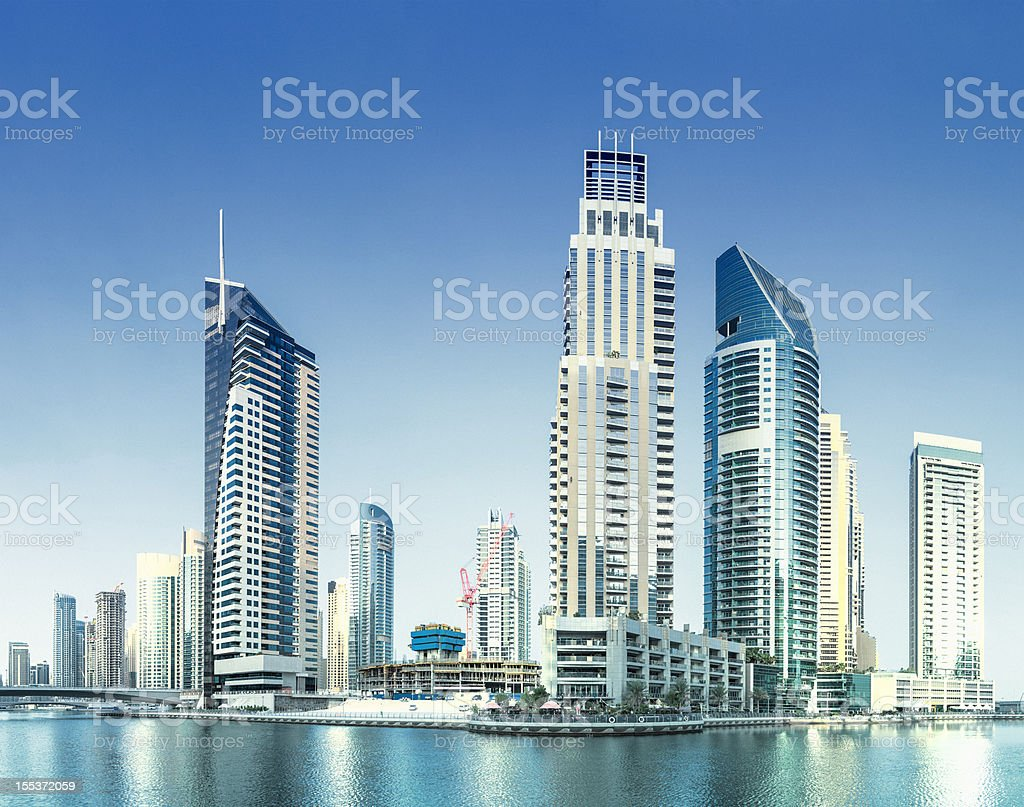 Dubai Marina Skyline and Skyscrapers. royalty-free stock photo