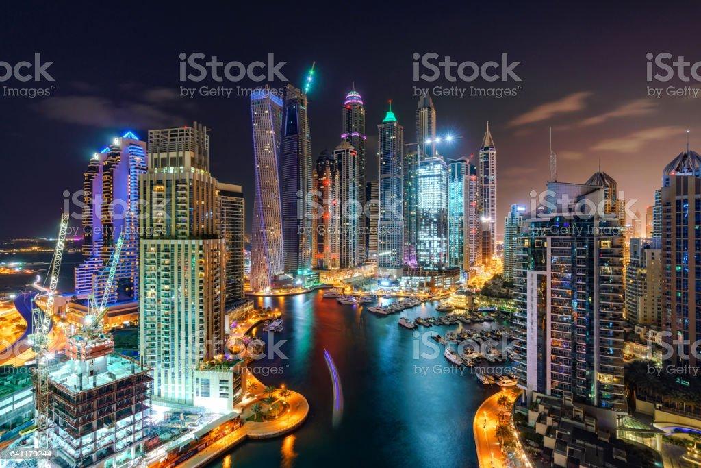 Dubai Marina Skyline at Night stock photo