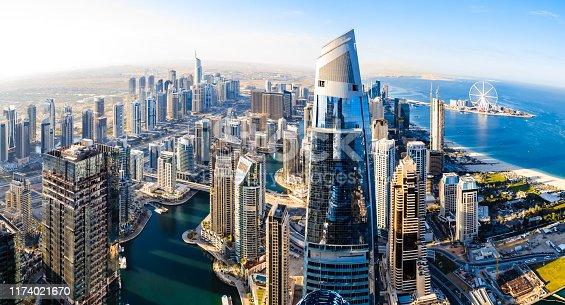 512697874 istock photo Dubai Marina Skyline at sunny day. 1174021670