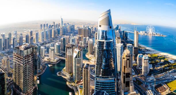 Dubai Marina Skyline at sunny day. stock photo