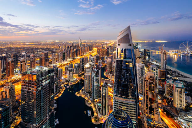 Dubai Marina Skyline at Sunrise stock photo