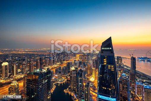 512697874 istock photo Dubai Marina Skyline at sunrise. 1174021368