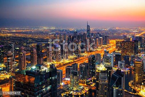512697874 istock photo Dubai Marina Skyline at sunrise. 1174021412
