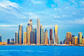 Dubai Marina Skyline from Palm Jumeriah. Shoot from istockalypse Dubai 2015.