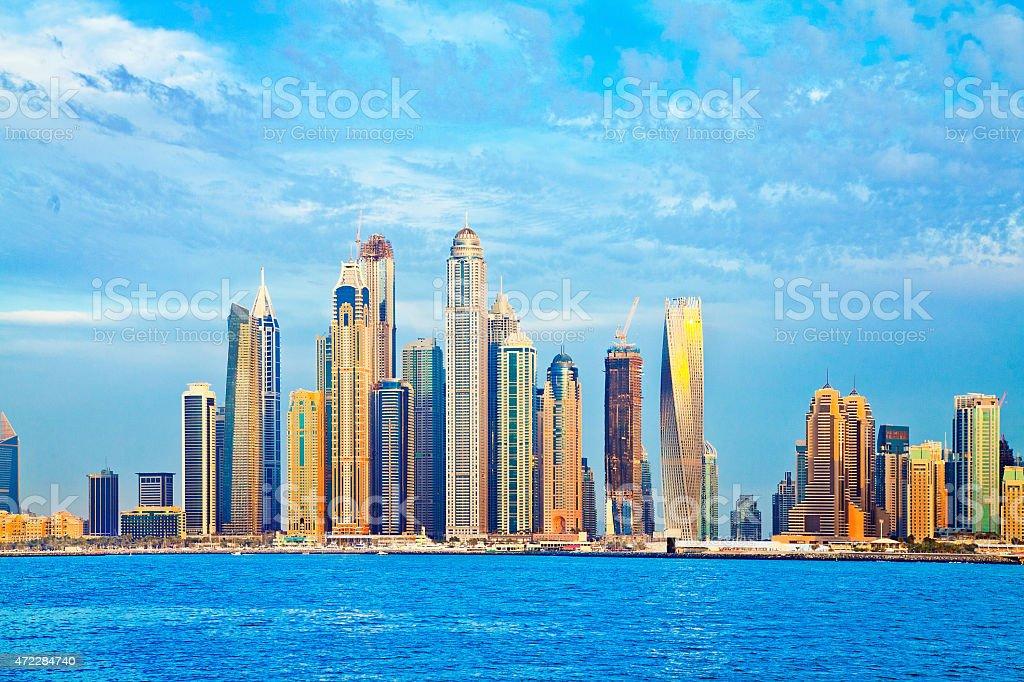 Dubai Marina Skyline from Palm Jumeriah stock photo