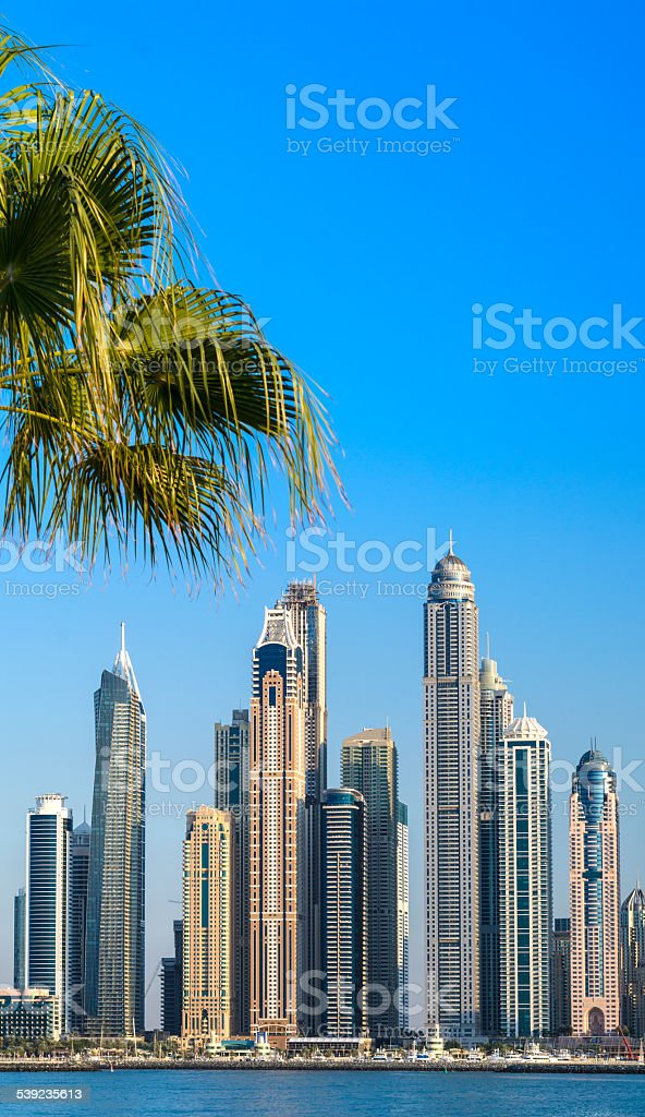 Horizonte de Marina de Dubai, Emirados Árabes Unidos foto royalty-free