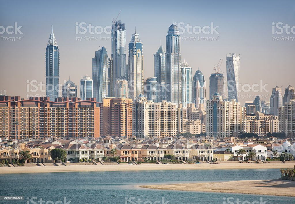 Dubai Marina Skyline with Palm royalty-free stock photo