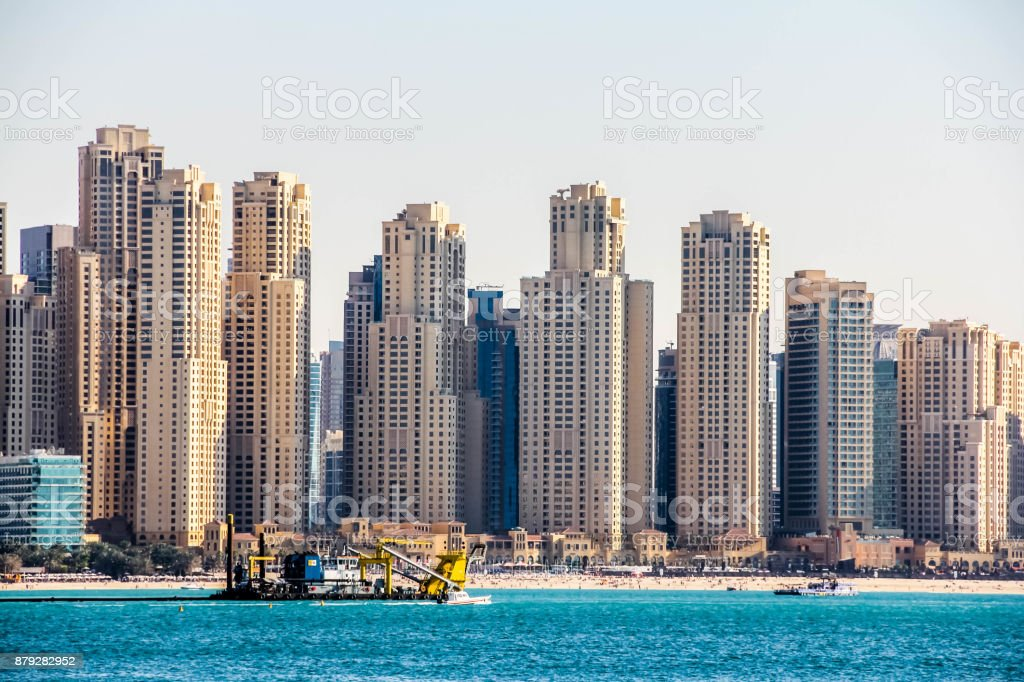 Dubai Marina skyscrapers and Skyline, View from Palm Jumeirah, United Arab Emirates stock photo