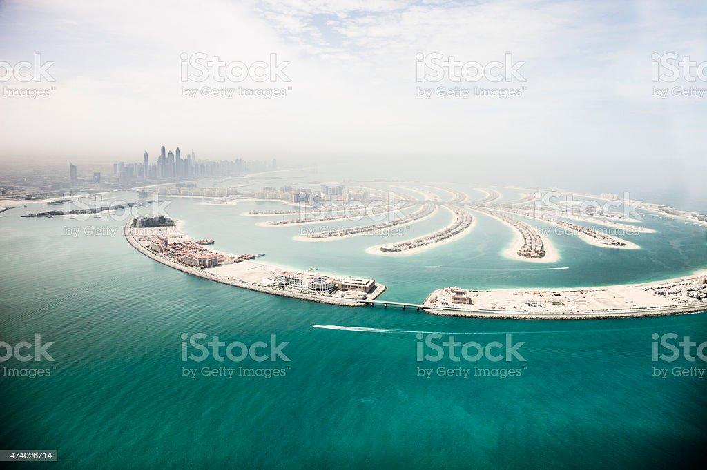Dubai Marina skyscrapers and The Palm Island aerial view stock photo