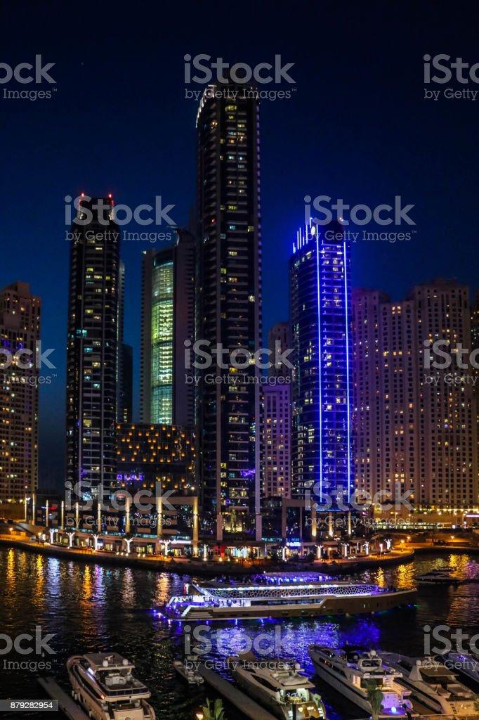 Dubai Marina Skyscrapers night view, Dubai, United Arab Emirates stock photo