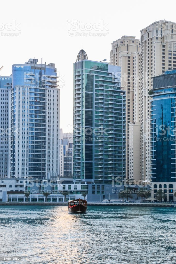 Dubai Marina Skyscrapers view, Dubai, United Arab Emirates stock photo