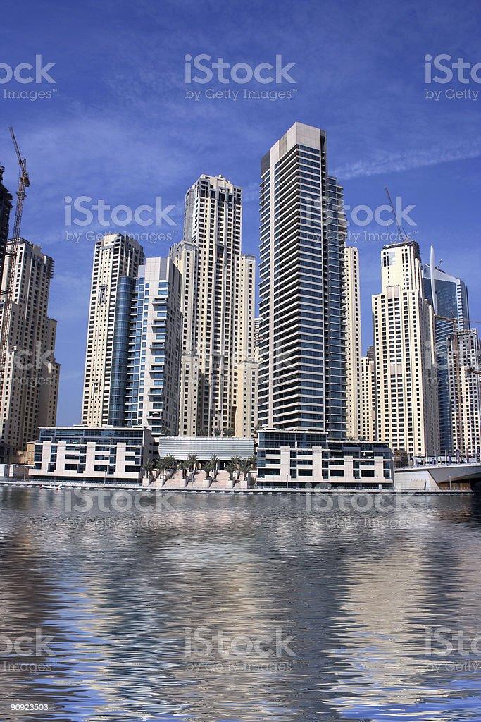 dubai marina skyscrapers with reflection royalty-free stock photo