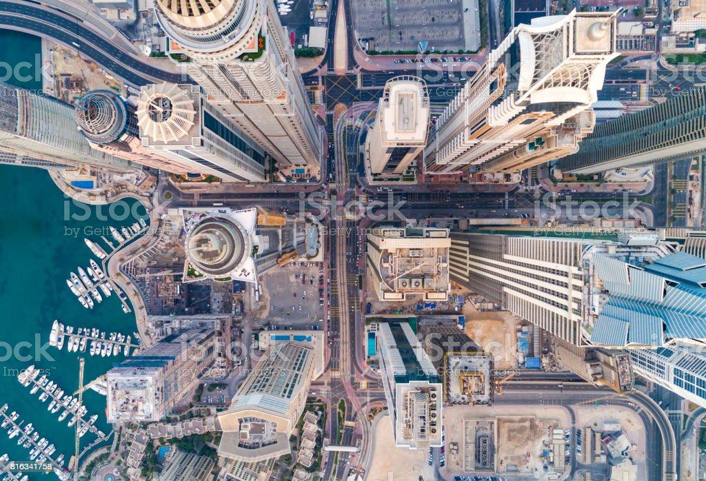 Städtischen Skyline von Dubai Marina - Lizenzfrei Ansicht von oben Stock-Foto