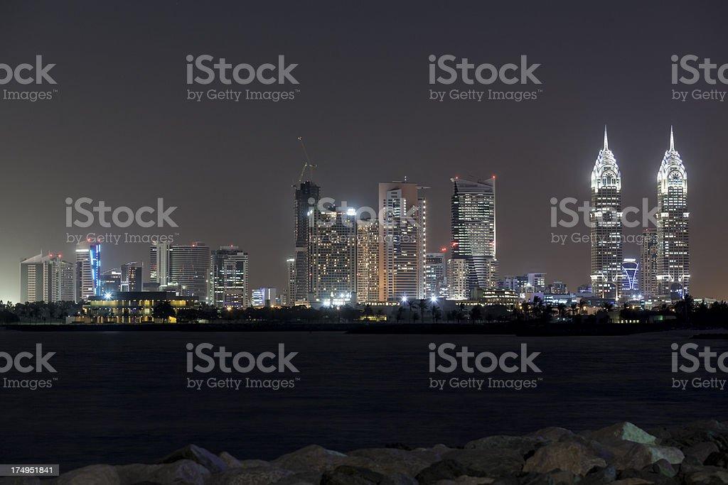 Dubai media City by night royalty-free stock photo